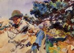 john singer sargent watercolor paintings - boy on a rock by john singer sargent