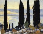 john singer sargent cypress trees at san vigilio painting-78336