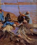 egyptian watercolor paintings - egyptians raising water from the nile by john singer sargent