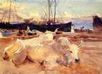 john singer sargent oxen on the beach at baia painting-30658