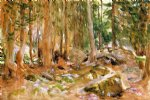 john singer sargent watercolor paintings - pine forest by john singer sargent