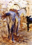 sad acrylic paintings - saddle horse palestine by john singer sargent