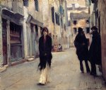 tree famous paintings - street in venice by john singer sargent