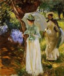 john singer sargent watercolor paintings - two girls with parasols at fladbury by john singer sargent