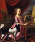 john singleton copley young lady with a bird and dog painting-30199