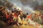 john trumbull artwork - the death of general mercer at the battle of princeton unfinished version by john trumbull