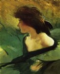 young girl in green dress by john white alexander painting