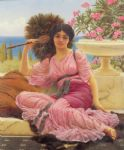 john william godward famous paintings - flabellifera by john william godward