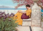 under the blossom that hangs on the bough by john william godward painting