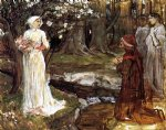 water oil paintings - dante and beatrice by john william waterhouse