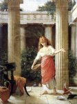 in the peristyle by john william waterhouse painting