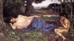 water oil paintings - listening to my sweet pipings by john william waterhouse