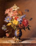 flowers in a blue vase by josef nigg painting