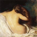 joseph decamp famous paintings - woman drying her hair by joseph decamp