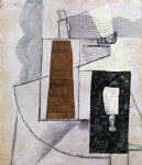 bottle and glass by juan gris painting