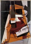 fruit watercolor paintings - bottle newspaper and fruit bowl by juan gris