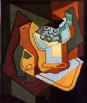 juan gris bottle wine glass and fruit bowl painting-29795