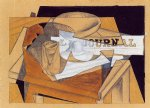 bowl glass and newspaper by juan gris painting