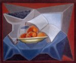fruit watercolor paintings - fruit and book by juan gris