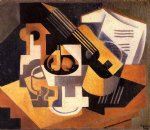 guitar watercolor paintings - guitar and fruit bowl on a table by juan gris