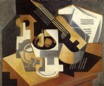 guitar watercolor paintings - guitar and fruit dish by juan gris
