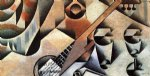 guitar watercolor paintings - guitar and glasses by juan gris