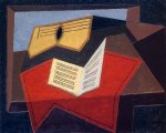 juan gris original paintings - guitar and music paper by juan gris