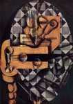 juan gris original paintings - guitar glasses and bottle by juan gris