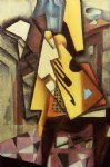 guitar watercolor paintings - guitar on a chair ii by juan gris