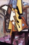 guitar watercolor paintings - guitar on a chair by juan gris