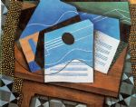 juan gris acrylic paintings - guitar on a table by juan gris