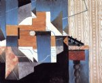 juan gris original paintings - guitar on the table by juan gris