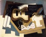 juan gris guitar with clarinet painting