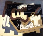 guitar watercolor paintings - guitar with clarinet by juan gris
