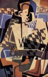 guitar watercolor paintings - harlequin with a guitar by juan gris
