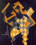 juan gris original paintings - harlequin with violin by juan gris
