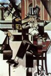 juan gris acrylic paintings - man in the cafe by juan gris
