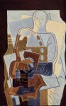 guitar watercolor paintings - pierrot with guitar by juan gris