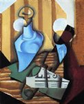 juan gris still life with bottle and glass painting 29893