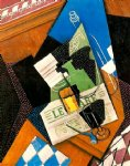 waterbottle fruitdish by juan gris painting