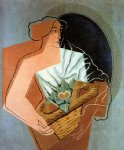 woman with basket by juan gris painting