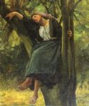 jules breton watercolor paintings - asleep in the woods by jules breton