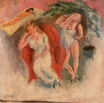 jules pascin art - composition with three women by jules pascin