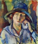 hermine in a blue hat by jules pascin art