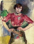 hermine in a red blouse by jules pascin art