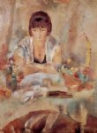 jules pascin portrait of lucy at a table painting-29707