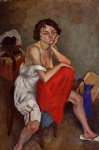 woman wearing white pantaloons by jules pascin painting