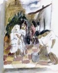 women washing the floor by jules pascin painting