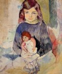 jules pascin young girl with a doll painting