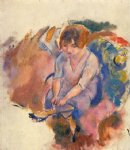 jules pascin young woman putting on her socks painting